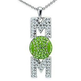 Sterling Silver Green and White Crystal 18-Inch Chain Baseball \