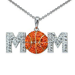Sterling Silver Orange and White Crystal 18-Inch Chain Basketball \