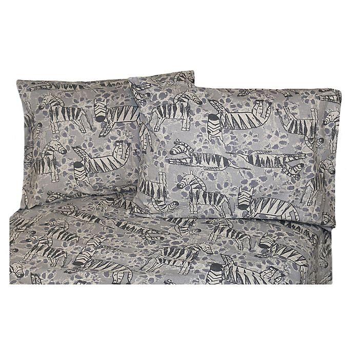 Alternate image 1 for Belle Epoque La Rochelle Collection Zebra Print Heathered Flannel Full Sheet Set in Grey