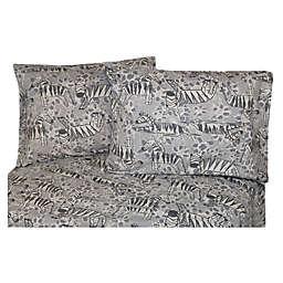 Belle Epoque La Rochelle Collection Zebra Print Heathered Flannel Sheet Set