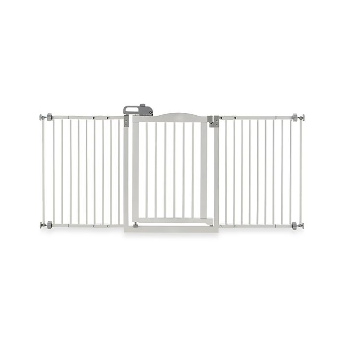Alternate image 1 for Richell® One-Touch Gate II Wide Pressure Mount Step-Through Pet Gate in White