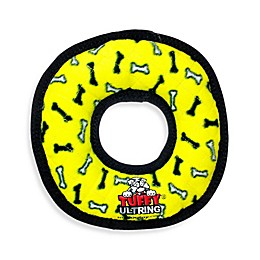 Tuffy® Ultimate Ring Bone Print Squeaker Dog Toy in Yellow