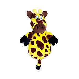 Flat Giraffe Ultrasonic Squeaker Dog Toy in Yellow/Brown