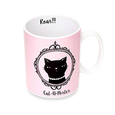 """""""Cat-A-Porter"""" Mug in Pink/Black"""