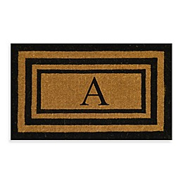 "Nature by Geo Crafts Imperial 24-Inch x 39-inch Triple Border Letter ""A"" Door Mat in Natural/Black"