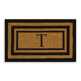 "Nature by Geo Crafts Imperial 18-Inch x 30-inch Triple Border Letter ""T"" Door Mat in Natural/Black"