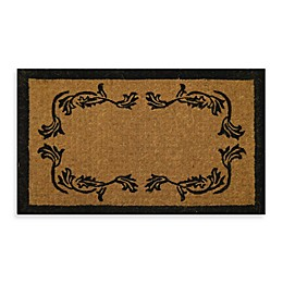 Nature by Geo Crafts Imperial Leaf Border 39-Inch x 24-Inch Doormat in Beige/Black