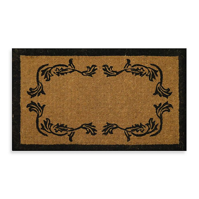 Alternate image 1 for Nature by Geo Crafts Imperial Leaf Border 39-Inch x 24-Inch Doormat in Beige/Black