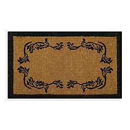 Nature by Geo Crafts Imperial Leaf Border 48-Inch x 30-Inch Doormat in Beige/Black
