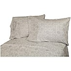 Belle Epoque La Rochelle Collection Floral Print Heathered Flannel King Sheet Set in Grey/Dark Grey