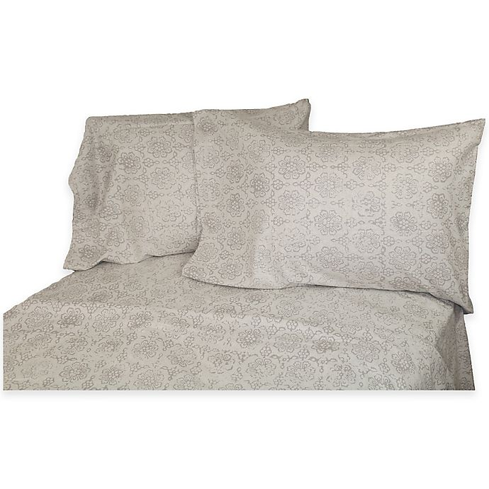Alternate image 1 for Belle Epoque La Rochelle Collection Floral Print Heathered Flannel King Sheet Set in Grey/Dark Grey