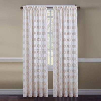 Cape Cod Rope Knot Embroidered Window Curtain Panel And