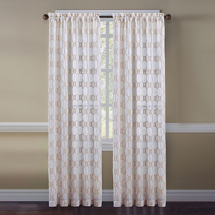 Alternate image 1 for Cape Cod Rope Knot 95-Inch Rod Pocket Embroidered Window Curtain Panel