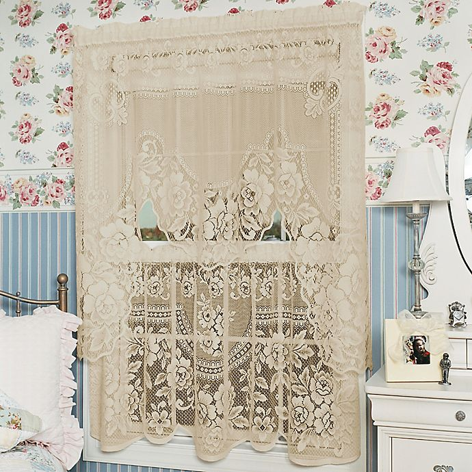 Alternate image 1 for Heritage Lace® Victorian Rose 30-Inch Window Curtain Tier in Ecru