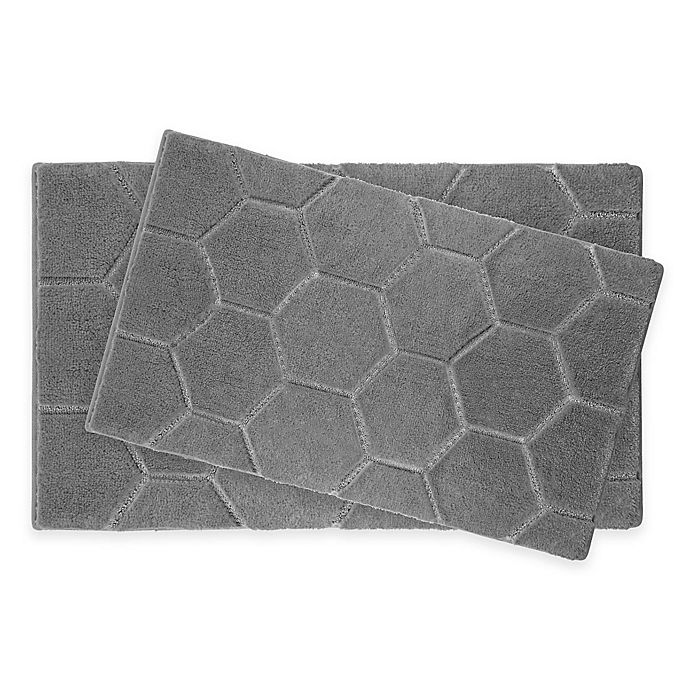 Alternate image 1 for Laura Ashley® Pearl Honeycomb Bath Rug (Set of 2)