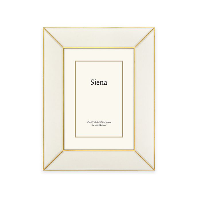 Alternate image 1 for Siena Metallics 4-Inch x 6-Inch Wide Deco Enamel Frame in White/Gold