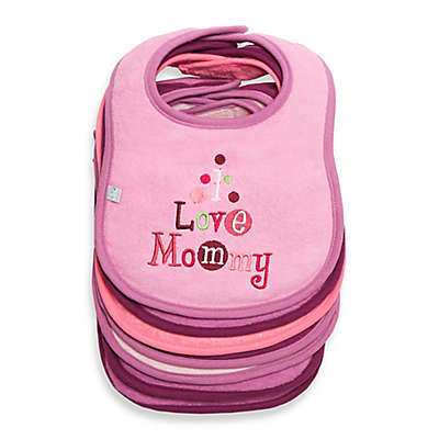 """Frenchie Mini Couture 7-Pack """"I Love"""" Bibs in Pink"""