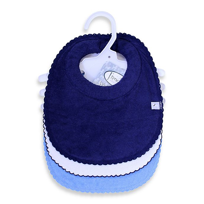 Alternate image 1 for Frenchie Mini Couture 3-Pack Milk Catcher Boy's Bibs in Blue/White