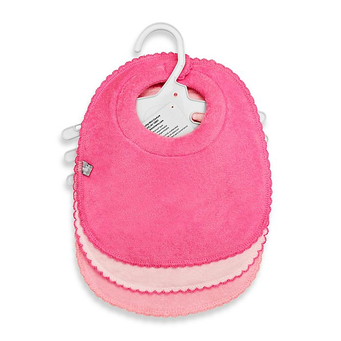 Alternate image 1 for Frenchie Mini Couture 3-Pack Milk Catcher Waterproof Terry Girl's Bibs in Pink