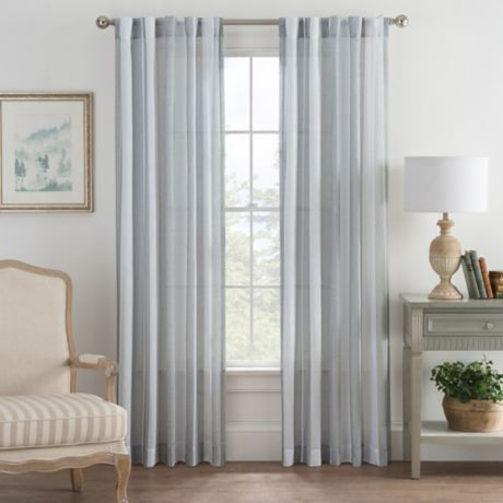 Bayport Stripe Rod Pocket Back Tab Window Curtain Panel