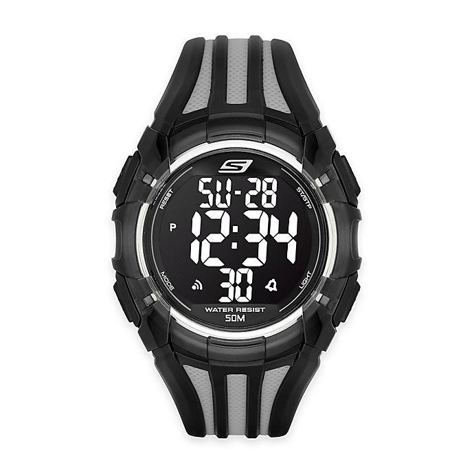 Alternate image 1 for Skechers® Men's 50mm Digital Watch in Black Plastic w/Black and Grey Polyurethane Strap