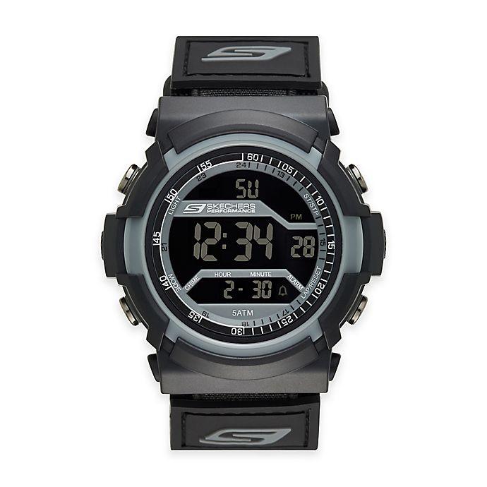 Alternate image 1 for Skechers® Men's 53mm Digital Watch in Black Plastic w/Black Polyurethane Strap