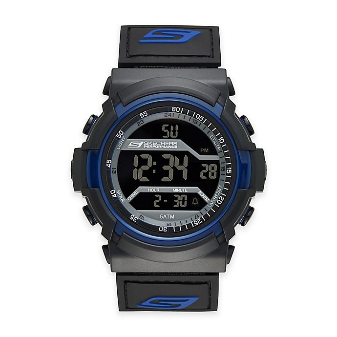 Alternate image 1 for Skechers® Men's 53mm Grey Digital Watch in Black Plastic w/Black and Blue Polyurethane Strap