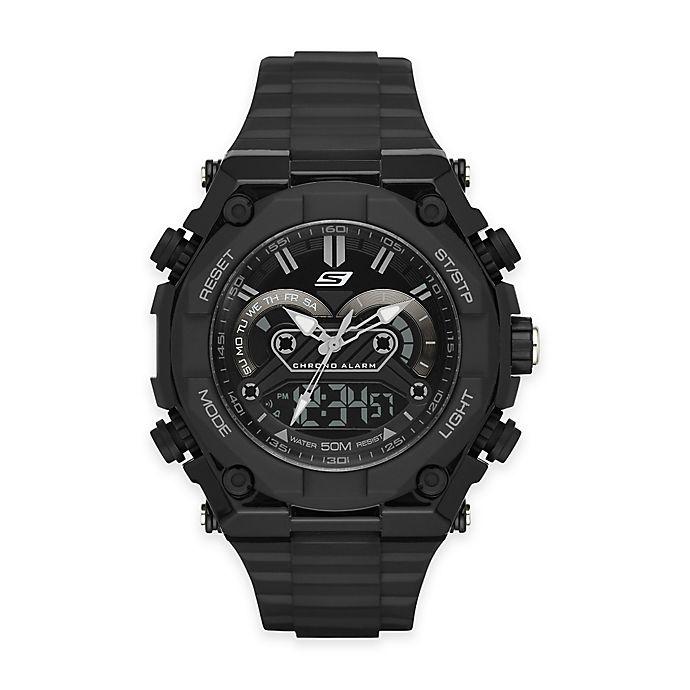 Alternate image 1 for Skechers® Men's 50mm Analog and Digital Watch in Black Plastic with Black Polyurethane Strap