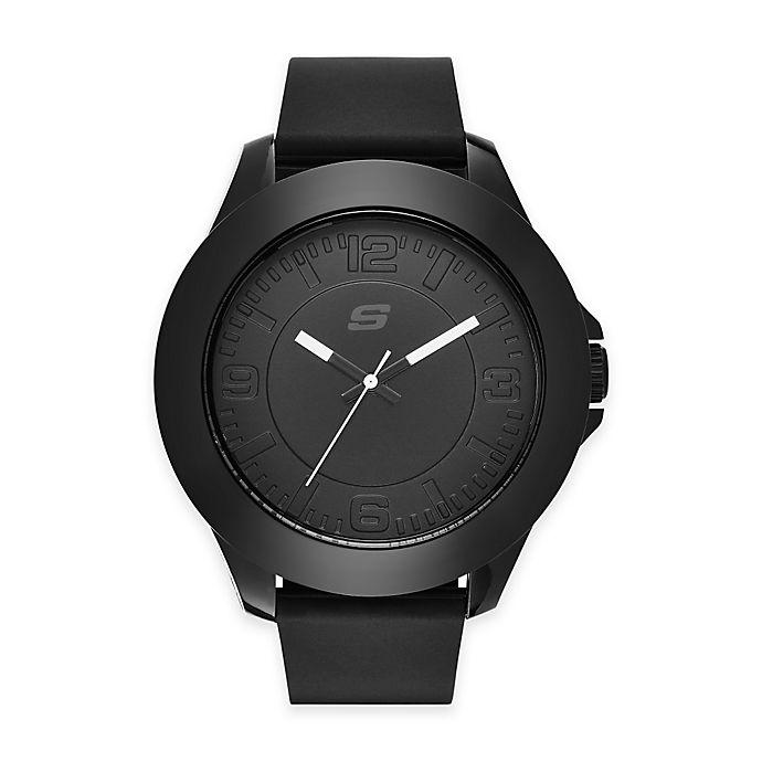 Alternate image 1 for Skechers® Men's 50mm Watch in Black Plastic w/ Black Polyurethane Strap