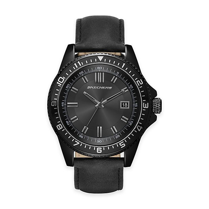 Alternate image 1 for Skechers® Men's 46mm Black Dial Watch with Black Leather Strap