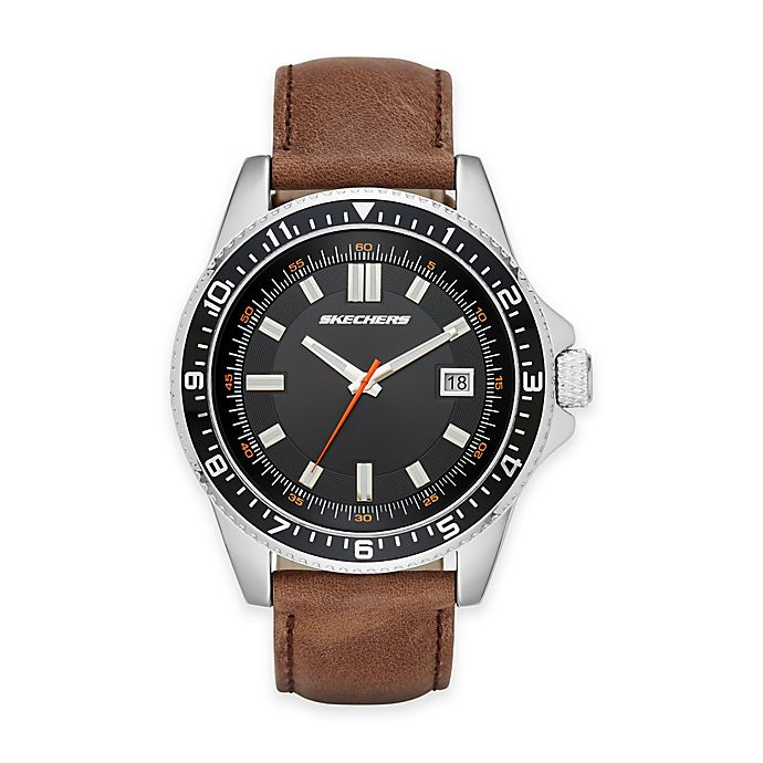 Alternate image 1 for Skechers® Men's 46mm Watch in Silvertone with Brown Leather Strap