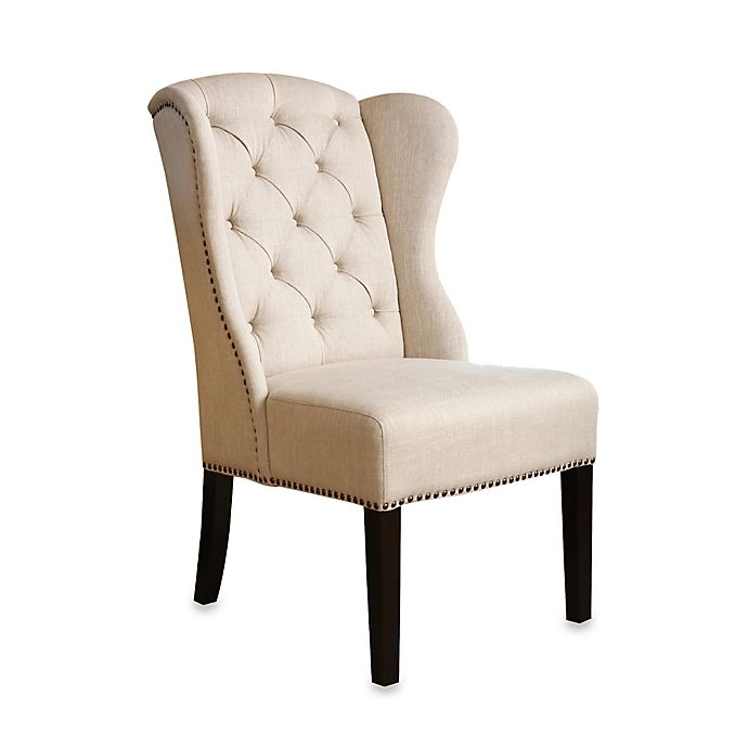 Marvelous Abbyson Living Kyrra Tufted Linen Wingback Dining Chair In Cream Ibusinesslaw Wood Chair Design Ideas Ibusinesslaworg
