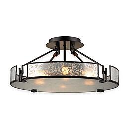 ELK Lighting Lindhurst 4-Light Pendant in Oil-Rubbed Bronze with Mercury Glass Shade