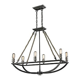 Elk Lighting Natural Rope 31-Inch 6-Light Chandelier in Silvered Graphite