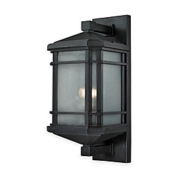 Elk Lighting Lowell Outdoor Lights in Matte Black with Ribbed Glass Shade