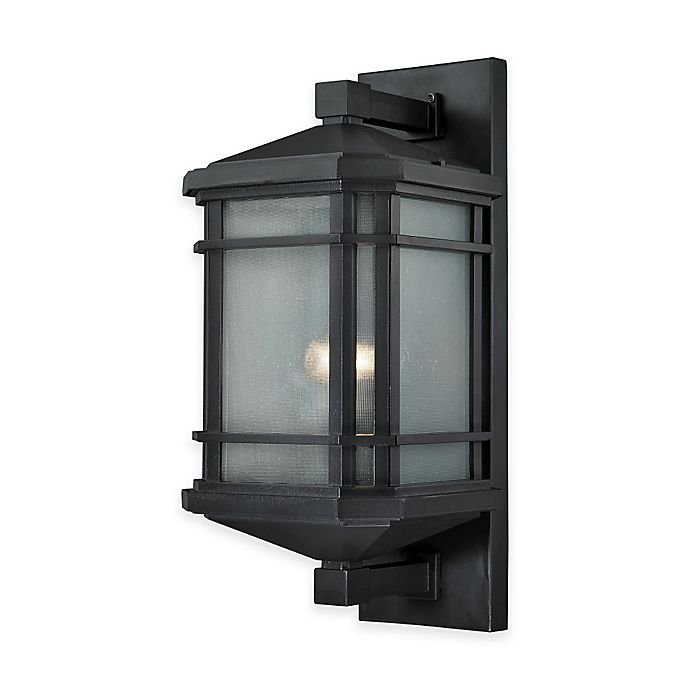 Elk Lighting Lowell Outdoor Lights In Matte Black With Ribbed Gl Shade