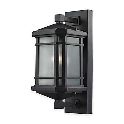 Bee & Willow™ Home Lowell 17-Inch 1-Light Wall-Mount Outdoor Sconce in Matte Black