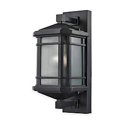 Bee & Willow™ Home Lowell 13-Inch 1-Light Wall-Mount Outdoor Sconce in Matte Black