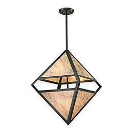 Elk Lighting Mica 4-Light Pendant in Oil-Rubbed Bronze with Cream Glass Shade