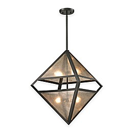 Elk Lighting Mica 4-Light Pendant in Oil-Rubbed Bronze with Grey Glass Shade