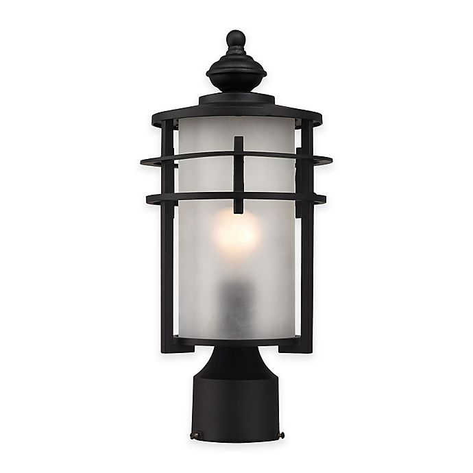 Alternate image 1 for Elk Lighting Meadowview 1-Light Post-Mount Outdoor Lantern in Matte Black with Frosted Glass Shade