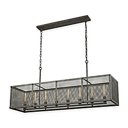 ELK Lighting Perry 8-Light Island Light in Malted Rust with Mesh Shade