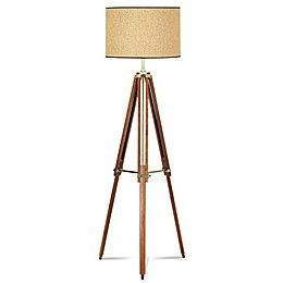 Pacific Coast® Lighting Tripod Floor Lamp with Drum Shade in Walnut