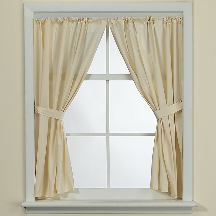 Alternate image 1 for Bone Vinyl Bath Window Curtain Panel Pair