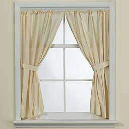 Bone Vinyl Bath Window Curtain Panel Pair