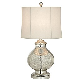 Pacific Coast® Lighting Kathy Ireland Manhattan Modern Table Lamp in Silver with Drum Shade