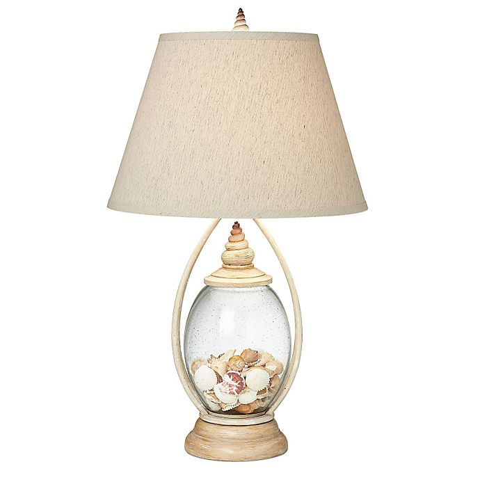 Alternate image 1 for Pacific Coast® Lighting Seascape Reflections Table Lamp in Coraline Ivory with Linen Shade