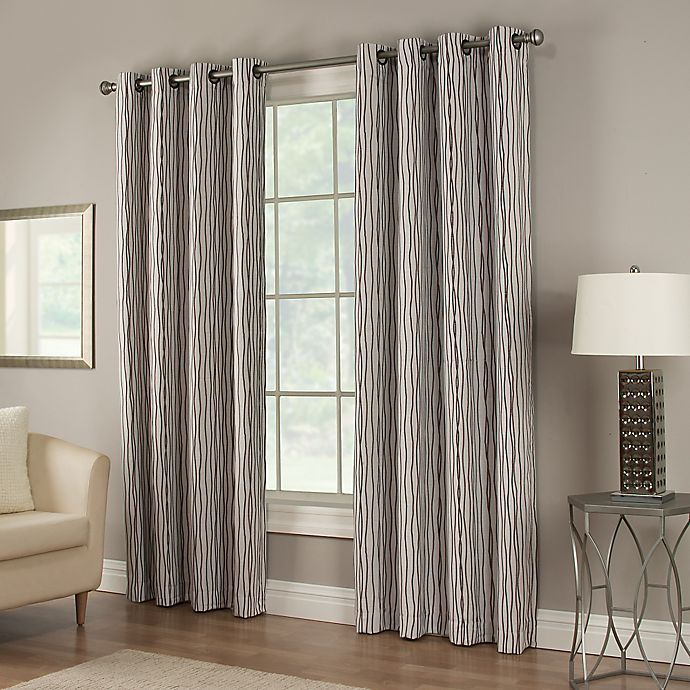 Alternate image 1 for Waterfall 95-Inch Grommet Lined Window Curtain Panel in Chocolate