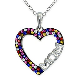 Sterling Silver Multicolor Crystal 18-Inch Chain Open Heart \