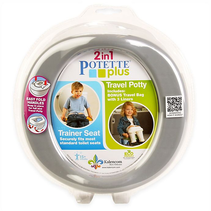 Alternate image 1 for Potette Plus 2-in-1 Travel Potty and Trainer Seat in Grey